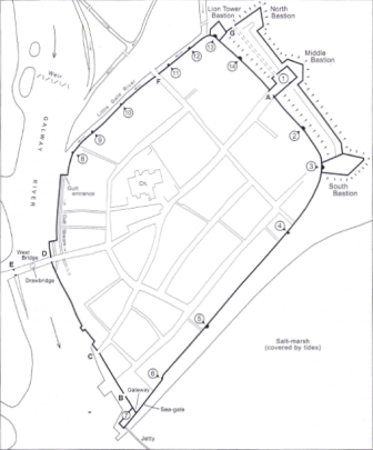Map of Galway showing the locations of the Gates, bulwarks and mural towers. (2) Penrice's Tower, (3) New tower/Shoemaker's Tower (from Paul Walsh's 'The Town walls and Fortifications')