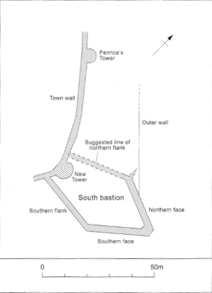Plan of the South Bastion walls, the town wall, Penrice's Tower and New Tower at Merchants Road (From Marcus Casey XXXXX in Archaeological Excavations in Galway City, 1987 – 1988)