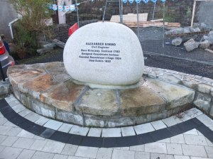 Memorial to Alexander Nimmo in the new public triangle close to the harbour in Roundstone.